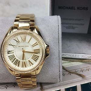 Michael Kors Roman numeral gold crystal watch